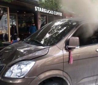 Blazing minivan plows into pedestrians near Starbucks in Shanghai