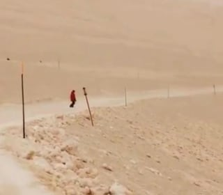 Sand from the stormy Sahara turns snow in Russia orange