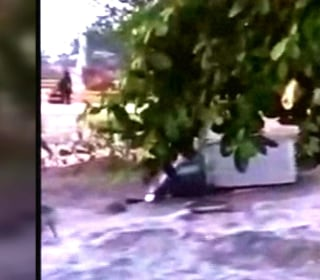 Video shows moment 20-foot tsunami wave strikes Indonesian town