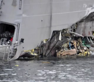 NATO warship torn open in collision with oil tanker