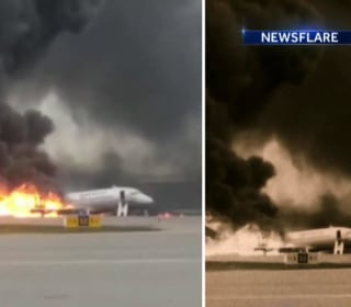 Investigation underway after Russian plane makes fiery emergency landing