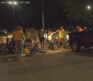 Protesters pepper-sprayed after truck drives through sit-in outside ICE detention center