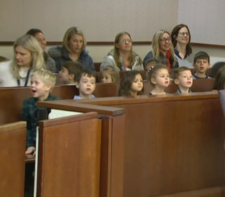 Foster child's kindergarten class shows up to support him at adoption hearing