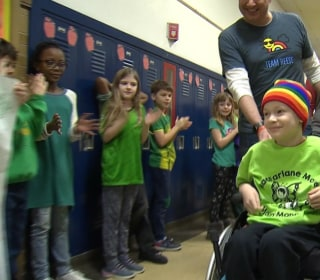 8-year-old welcomed back to school with rainbow parade after finishing chemo