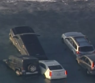 Cars Sink Into Icy Wisconsin Lake