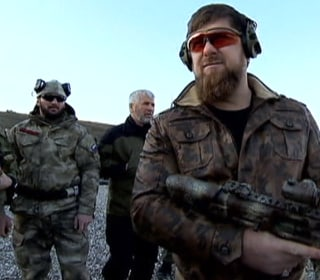 Chechen President Kadyrov Trains with his Soldiers
