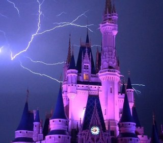 Watch Incredible Lightning Flash Over Cinderella's Castle