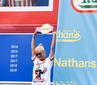 Defending Hot Dog Eating Champ Grills Competition