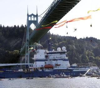 Greenpeace Protesters Blocking Oil Ship Rappel Down From Portland Bridge
