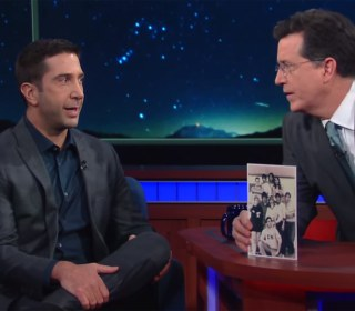 Watch Stephen Colbert Tease David Schwimmer About His College Hairdo