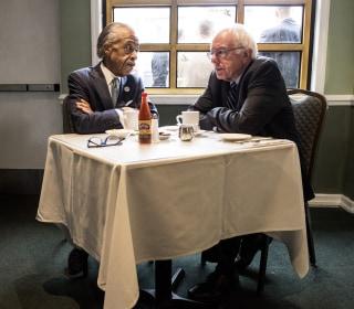 Bernie Sanders Huddles With Al Sharpton in Harlem