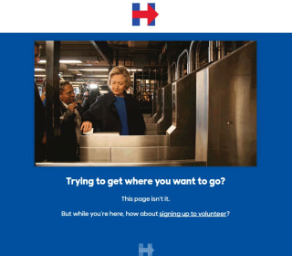 Hillary Clinton's Website Joins in Subway Swipe Joke With '404' Message