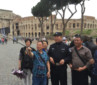 Chinese Police Patrol With Italians at Rome, Milan Tourist Sites