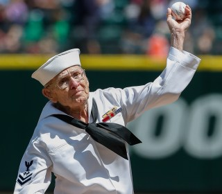 World War II Veteran Throws Out First Pitch at 92 Years Old