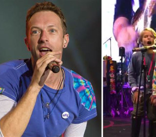Chris Martin's Kids Apple, Moses Sing at Coldplay Concert