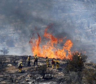 Firefighters Make Progress Against Sands Wildfire Near Los Angeles