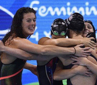 Olympic Moments: Poolside Hug and Mom Gets Gold
