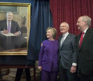 Hillary Clinton Returns to D.C., Praises Reid's Legacy, Condemns Fake News