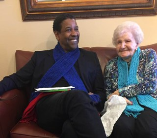 Denzel Washington Pays Visit to His Childhood Librarian on Her 99th Birthday