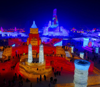 Stunning Ice Sculptures Glow in Neon at Chinese Festival