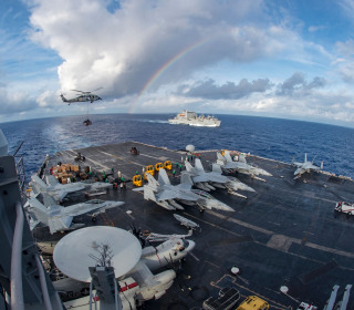 U.S. Aircraft Carrier, Warplanes and Destroyer Begin 'Routine Operations' in South China Sea