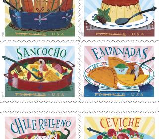 Empanadas or Flan? New 'Delicioso' U.S. Stamps Celebrate Latino Dishes