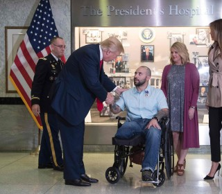 Trump Awards Purple Heart at 1st Visit to Walter Reed Military Hospital