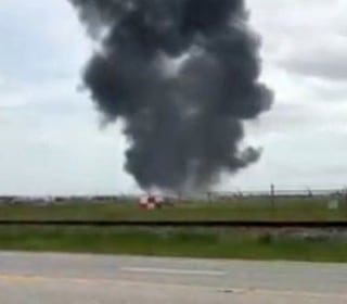 F-16 Jet Catches Fire at Houston Airport; Pilot Ejects