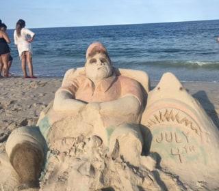 New Jersey Sand Sculpture Mocks Chris Christie's Viral Beach Outing
