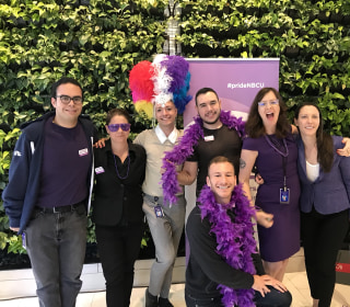 Supporters of LGBTQ Youth Go Purple for #SpiritDay