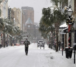 Normally balmy southeastern coast blanketed in snow