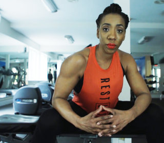 Female bodybuilder 'Action' Jackson takes on domestic violence