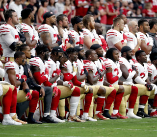 Civil rights groups protest at NFL HQ for players' right to kneel