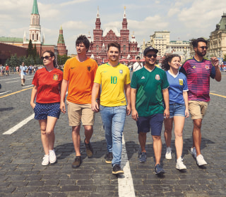 Gay rights activists protest at World Cup with 'hidden' rainbow flag