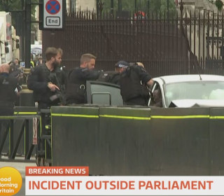 Car crashes into barrier near Westminster Parliament in London