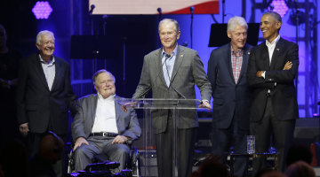 Former Presidents Call for Unity at Hurricane Aid Concert