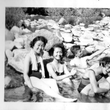 Nina Ichikawa's family on a trip to Yosemite National Park in the 1930's.