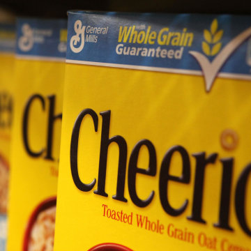Image: Boxes of Cheerios cereal, made by General Mills.