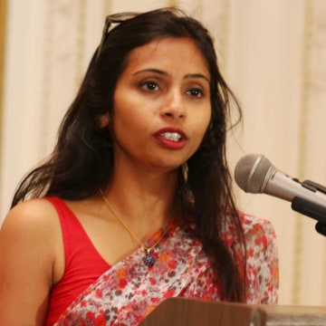 Image: India's Deputy Consul General in New York, Devyani Khobragade, attends a Rutgers University event at India