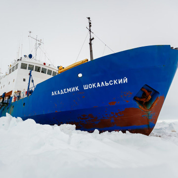 Image: The Russian ship MV Akademik Shokalskiy trapped in the ice at sea off Antarctica.