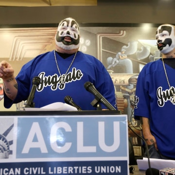 Image: Members of the Insane Clown Posse address the media in Detroit
