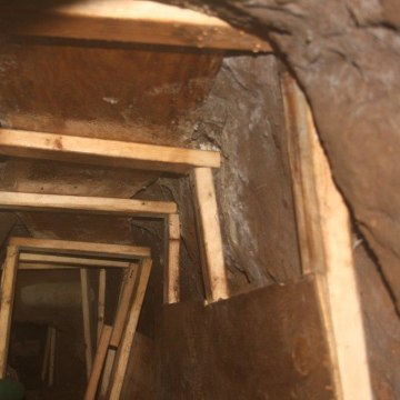 View of a drug smuggling tunnel discovered by federal agents in Nogales, Arizona