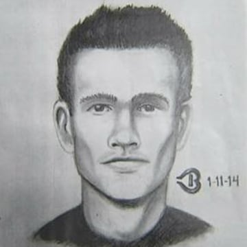 Police sketch of a suspect sought in connection with a series of deliberately set fires in downtown San Jose