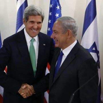 Image: Secretary of State John Kerry shakes hands with Israel's Prime Minister Benjamin Netanyahu in Sept. 2013