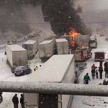Image: Semitrailers pile up on Interstate 65 in Lafayette, Ind.