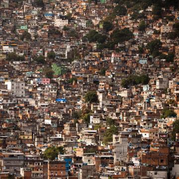 Image: Homes crowd the Rocinha shantytown in Rio de Janeiro, Brazil