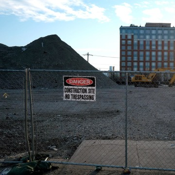 Image: A fence blocks off a construction site in an area of real estate under scrutiny for redevelopment on January 19, 2014 in Hoboken, N.J.