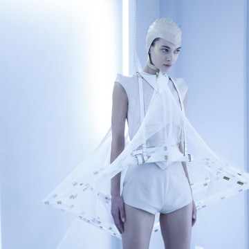 Image: A model poses during the Defined Moment presentation