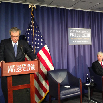 Image: Former Secretary of Commerce Carlos Gutierrez, left, with Michigan Gov. Rick Snyder at a National Press Club panel in January 2014.
