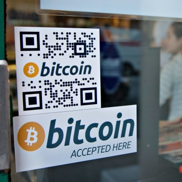 Signs on window advertise bitcoin ATM machine in Vancouver